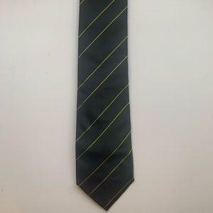 Faconnable Black & Yellow Striped 100% Silk Tie